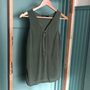 Trouve Tops - silk zipper-front tank